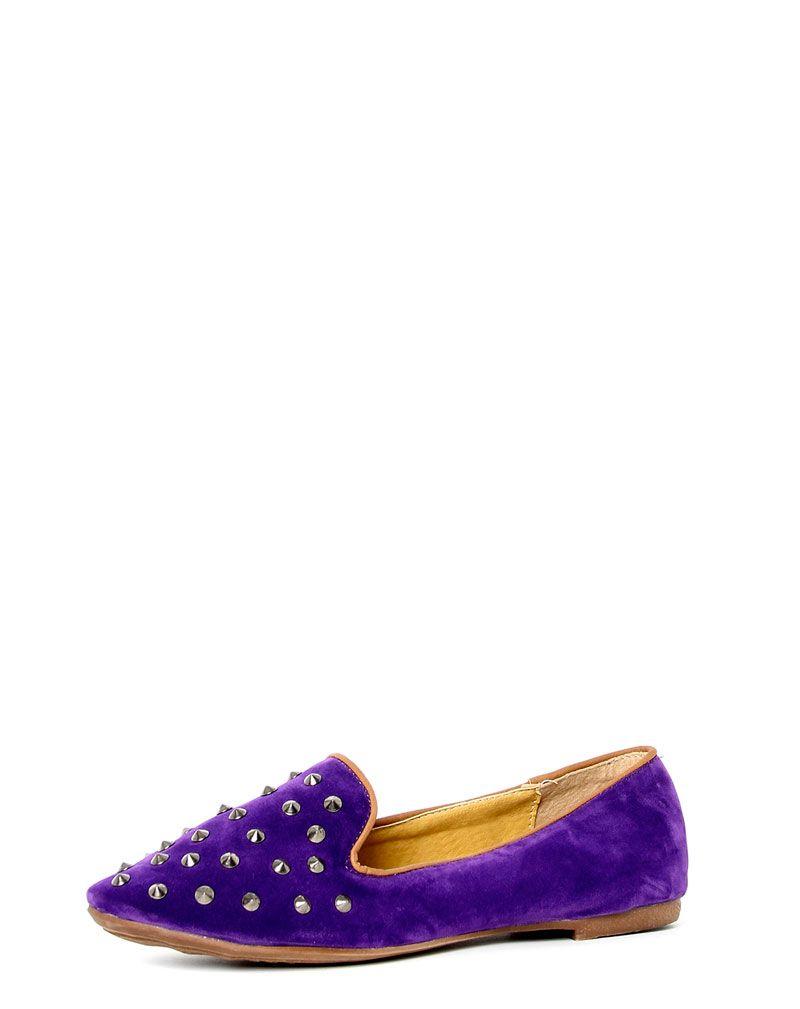 Harriet Purple Studded Slipper Shoe 1
