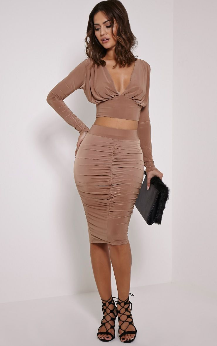 Nicole Camel Slinky Ruched Midi Skirt