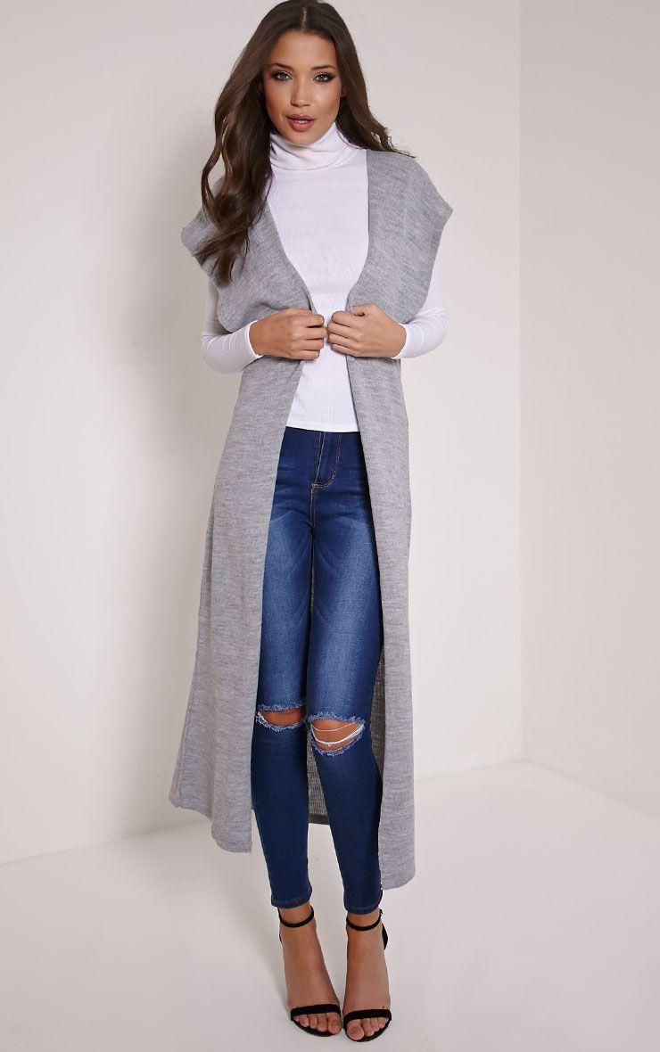Talcia Grey Knitted Longline Cardigan 1