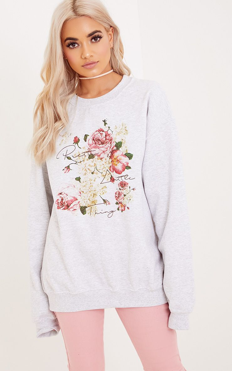 PrettyLittleThing Grey Floral Print Sweater 1