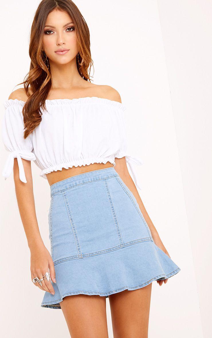 Light Wash Frill Hem Denim Mini Skirt
