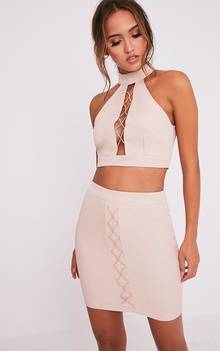 Mitzy Nude Lace Up Mini Skirt