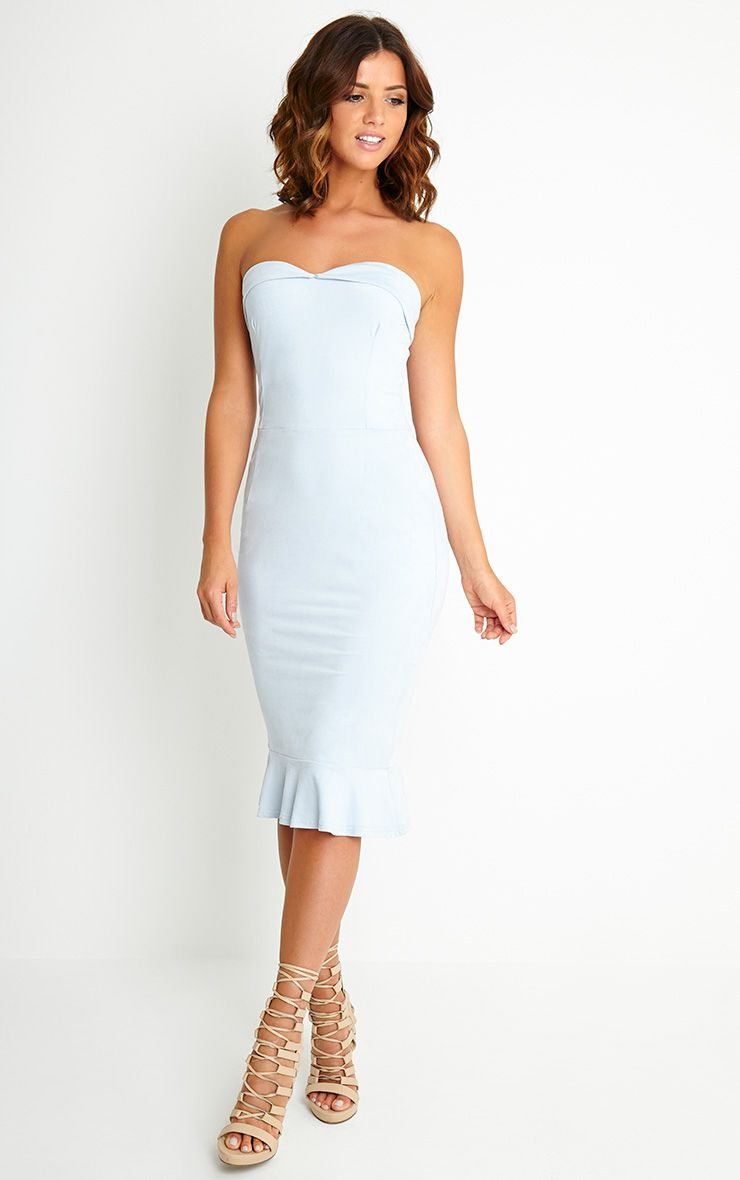 Lorena Powder Blue Suede Bandeau Midi Dress 1