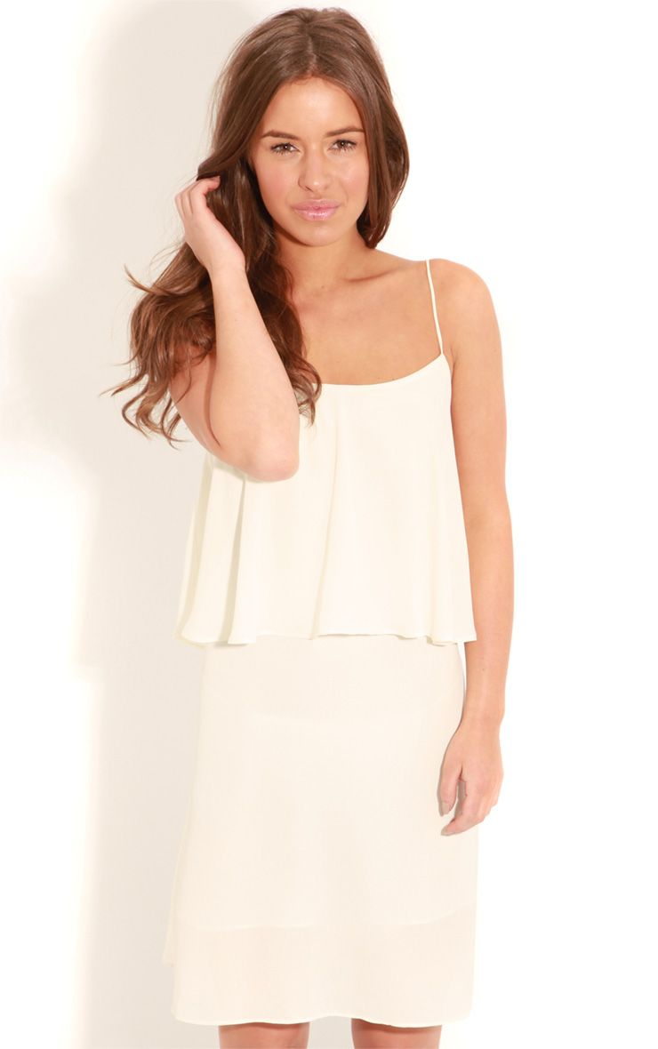 Ariella Cream Chiffon Swing Dress-S/M 1