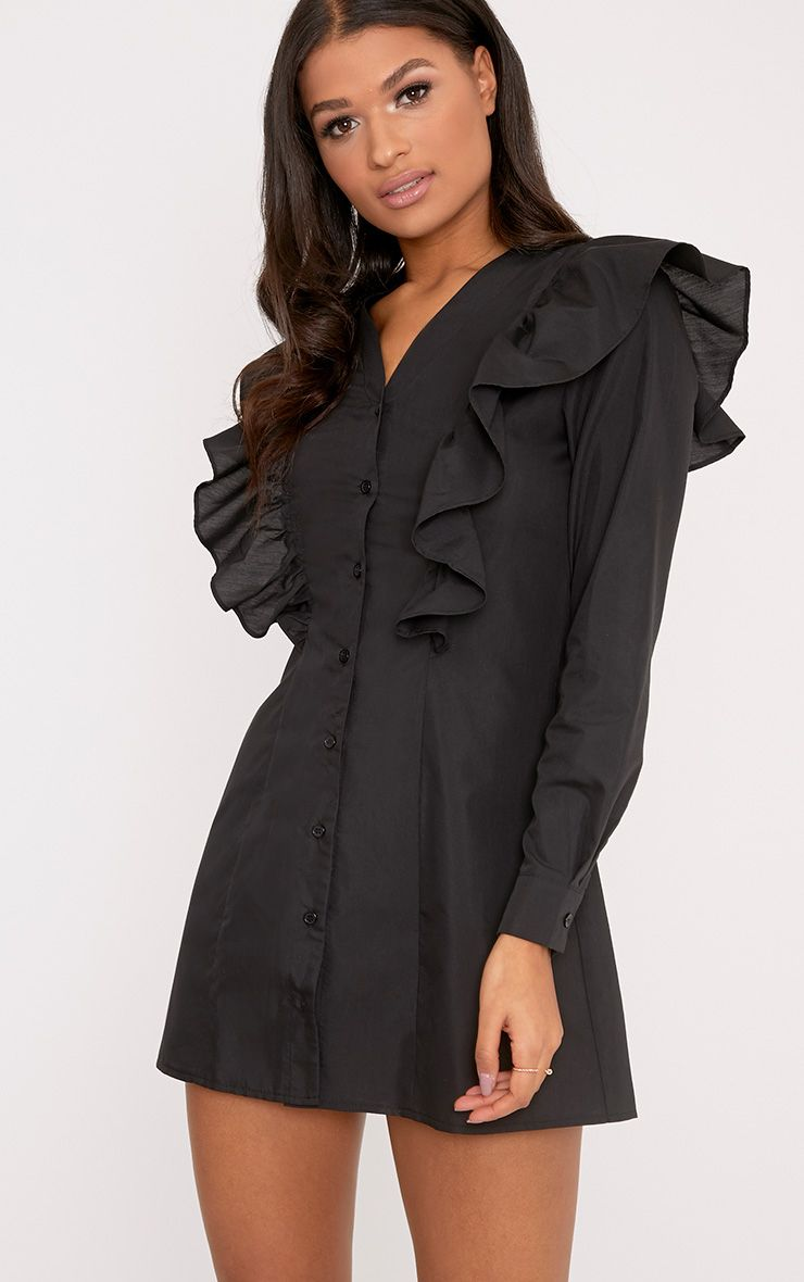 Mila Black Frill Detail Shirt Dress