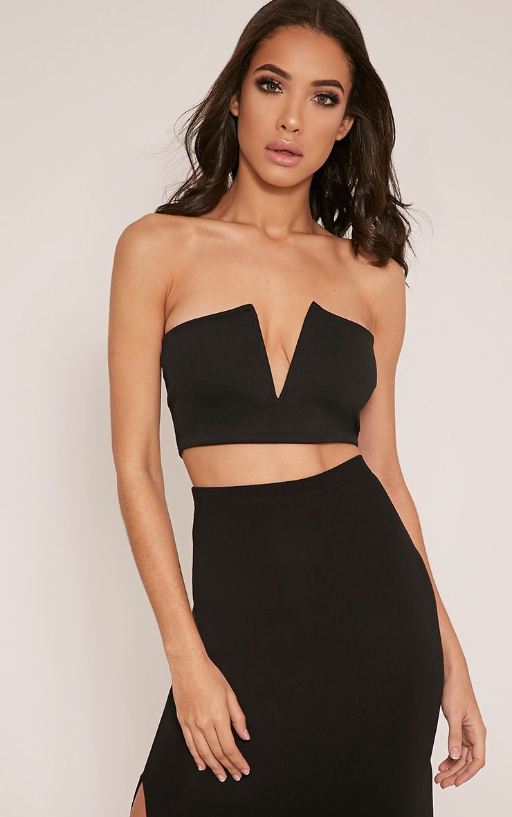 Alayah Black Deep Plunge Bandeau Crop Top 1
