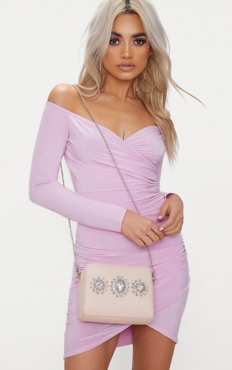 Nude Jewel Detail Shoulder Bag