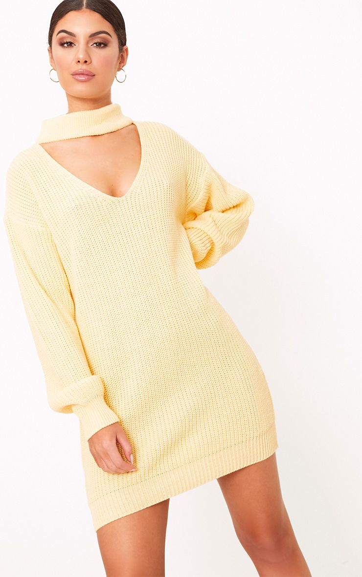 Ashleiyn Lemon Choker Detail Knitted Mini Dress