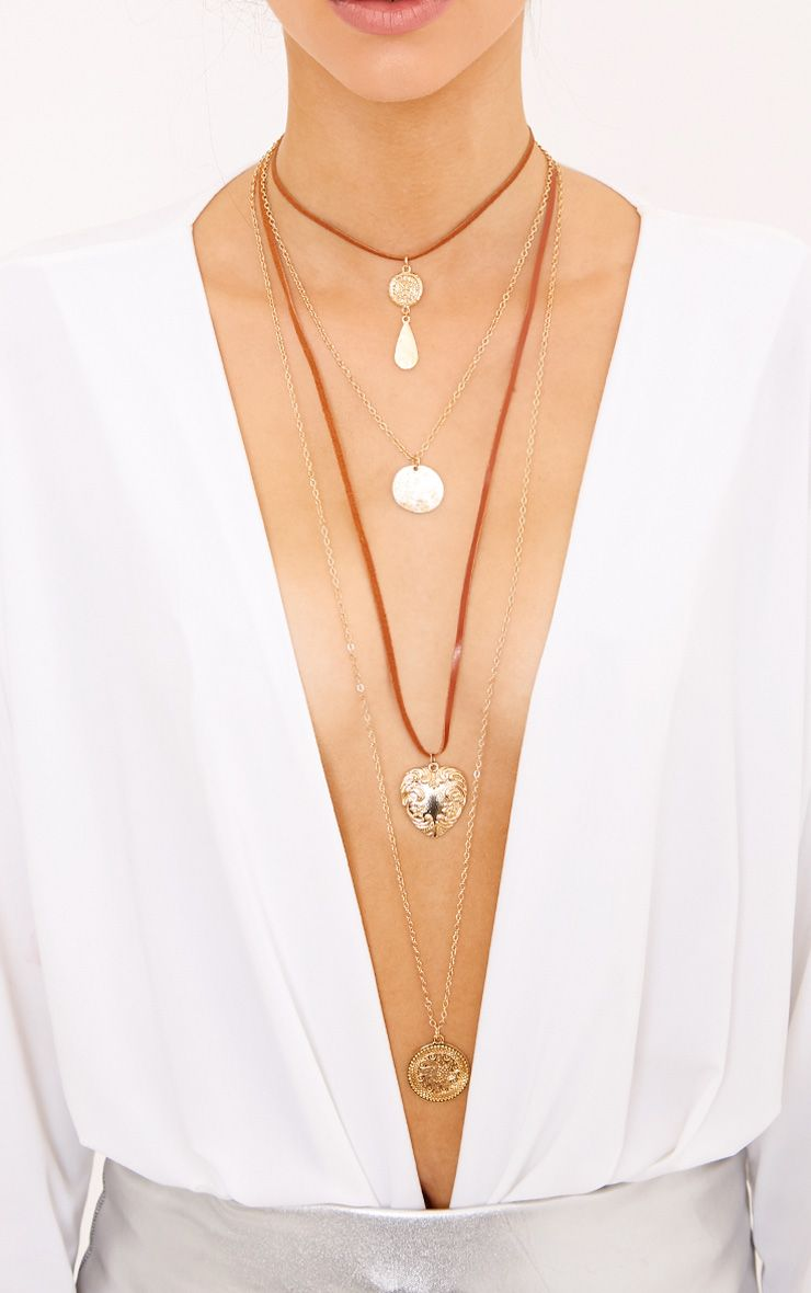 Busra Brown Suede Multi Layer Necklace