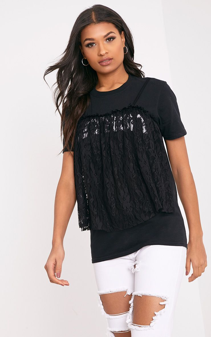 Eisley Printed Slogan Black Eyelash Lace Oversized T Shirt