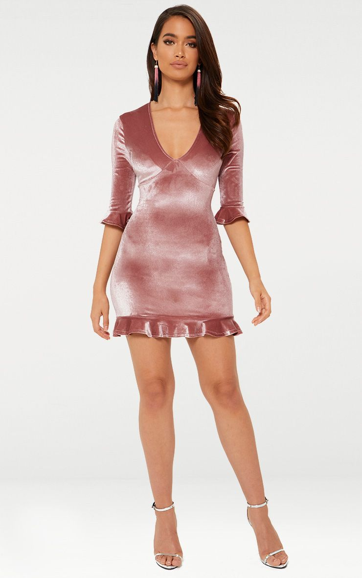 Rose Velvet Frill Hem Shift Dress