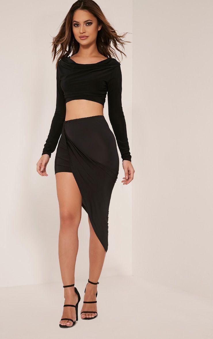 Alba Black Slinky Drape Skirt