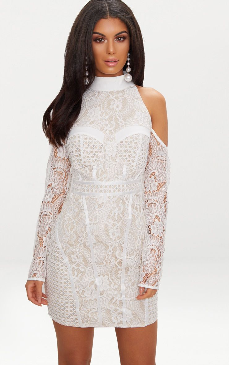 White Cold Shoulder Lace Panelled Bodycon Dress