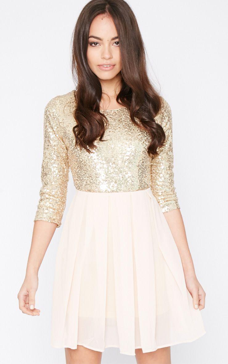 Tiva Gold Sequin Blush Skater Dress 1