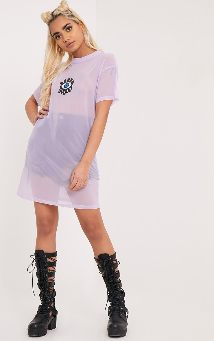 Pippi Lilac Eye Applique Mesh T Shirt Dress