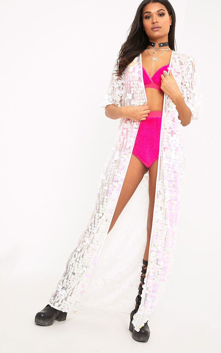 Bennie White Sequin Maxi Duster