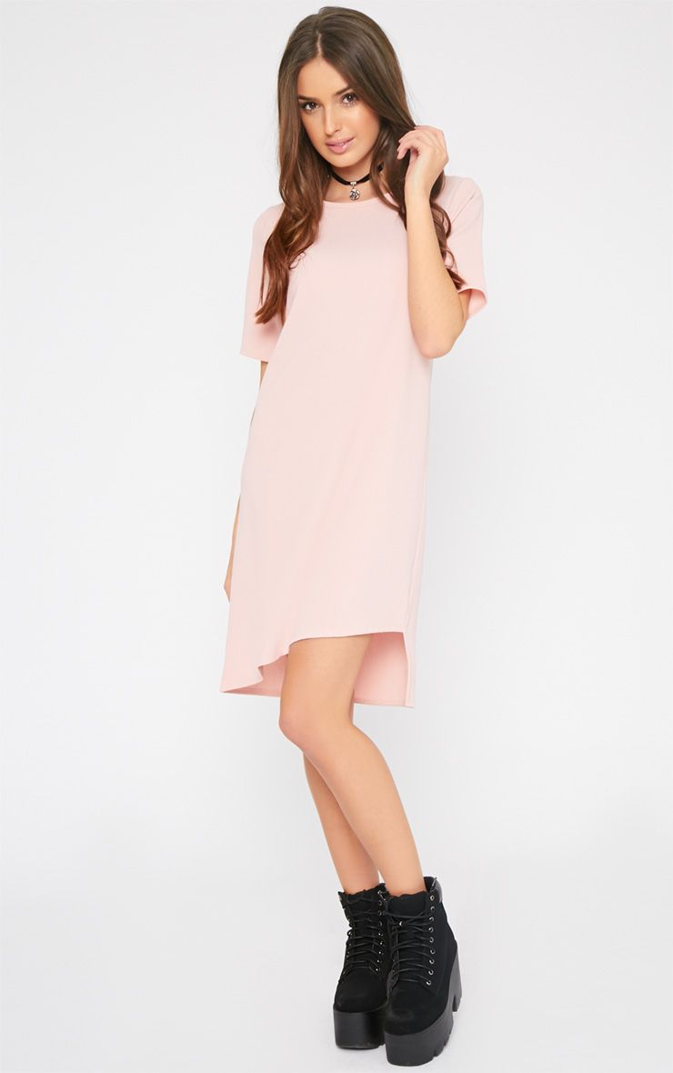 Chastity Baby Pink Asymmetric Shift Dress  1