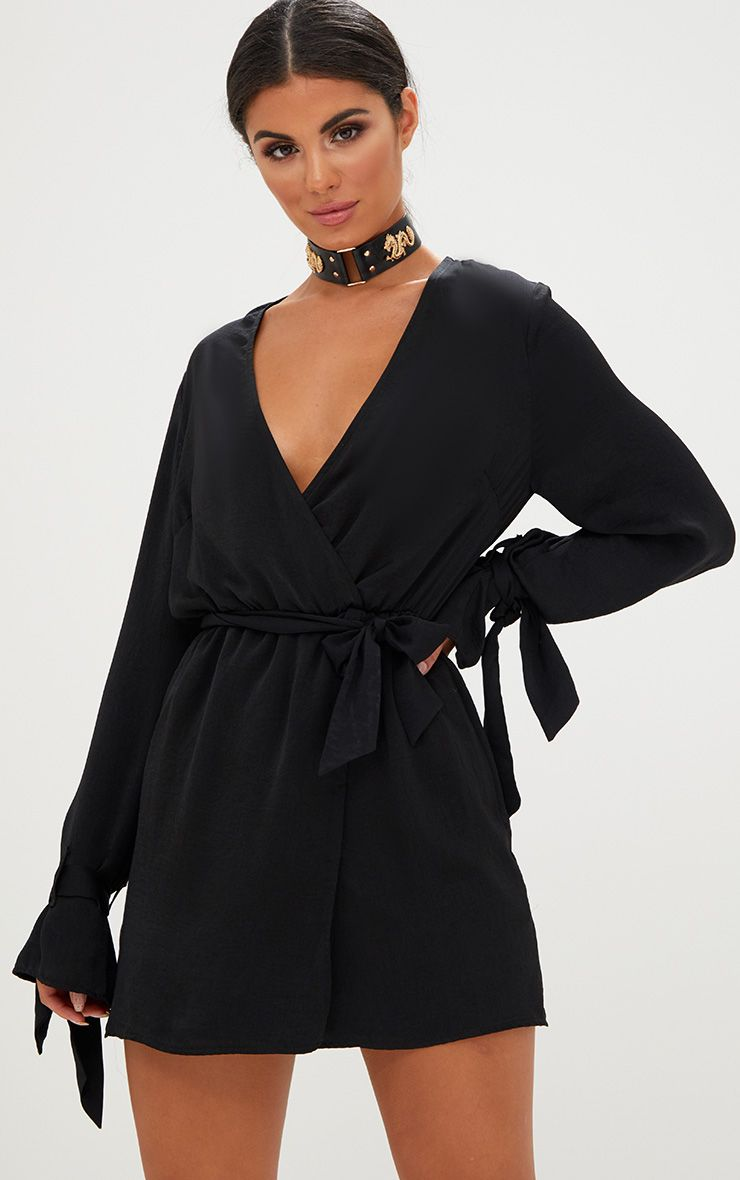 Black Satin Wrap Cuff Detail Shift Dress