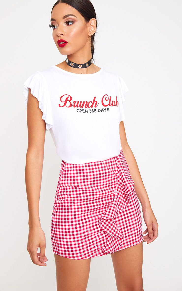 White Brunch Club Slogan Frill T-Shirt