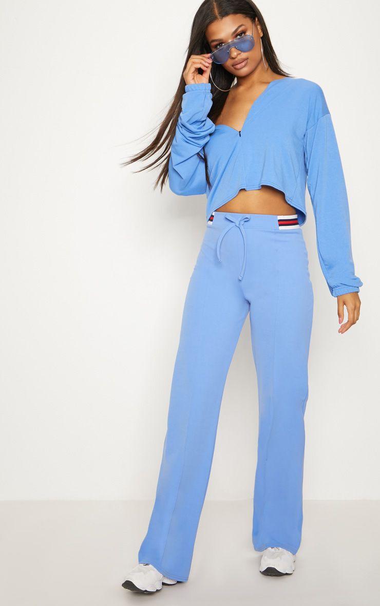 Dusky Blue Sport Waist Drawstring Trouser