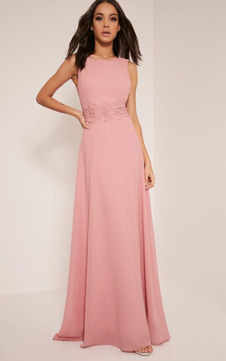 Caitlan Dusty Pink Lace Insert Maxi Dress 1