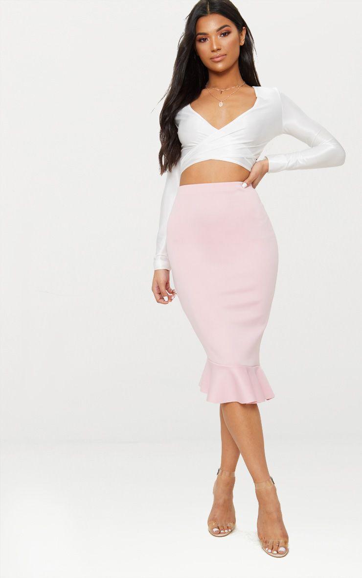 Dark Rose Scuba Asymmetrical Frill Hem Skirt