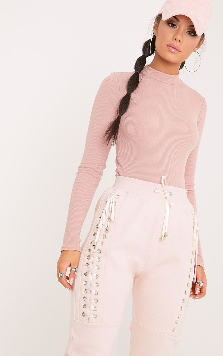 Karlee Dusty Pink Ribbed Turtle Neck Longsleeve Top