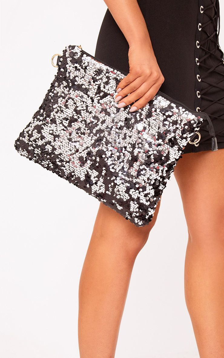 Black Oversized Sequin Clutch