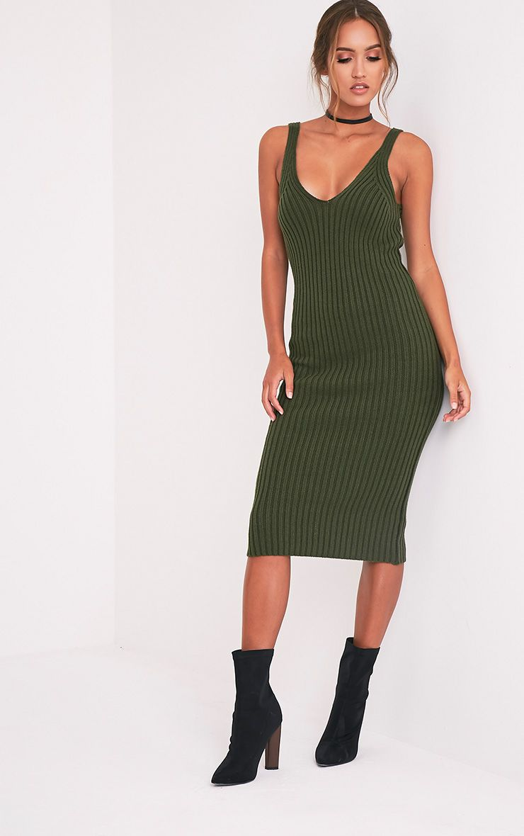 Nimah Khaki Ribbed Vest Knitted Midi Dress 5