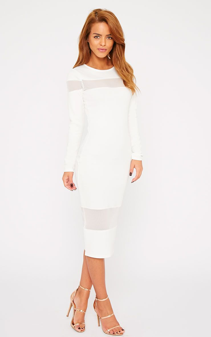 Justina White Mesh Insert Bodycon Midi Dress 1