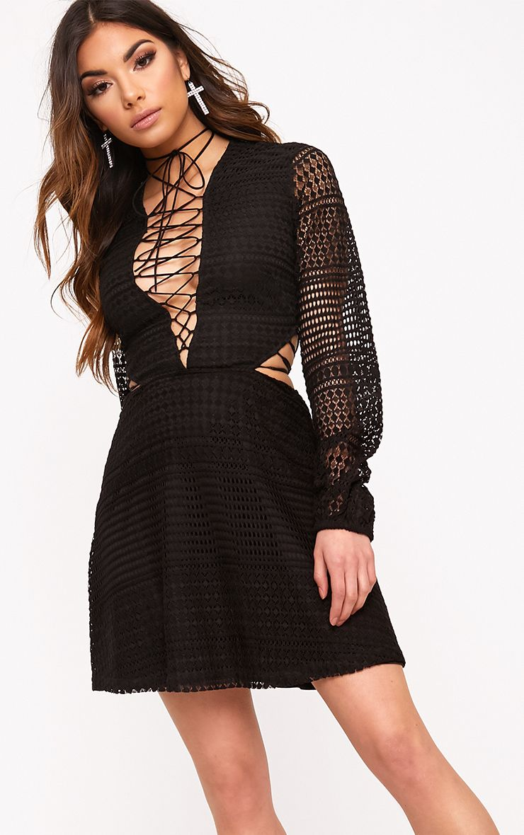 Daisie Black Lace Up Detail Swing Dress