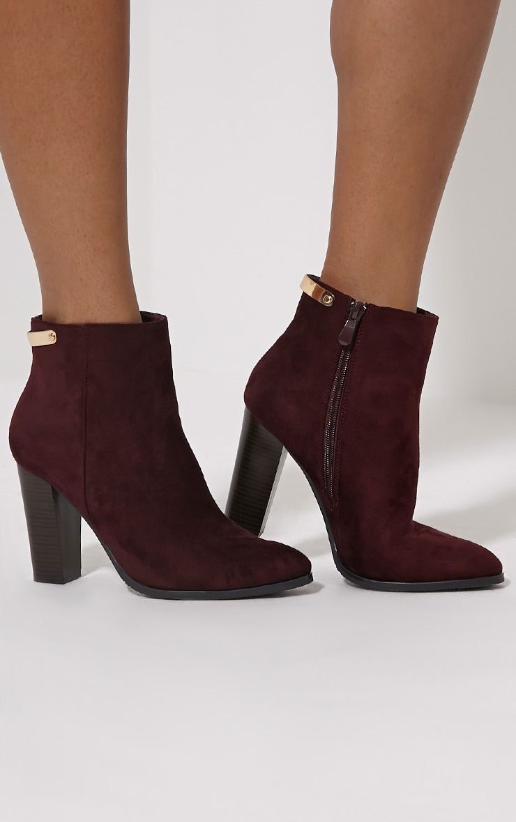 Kari Oxblood Faux Suede Gold Plate Heel Boots 1