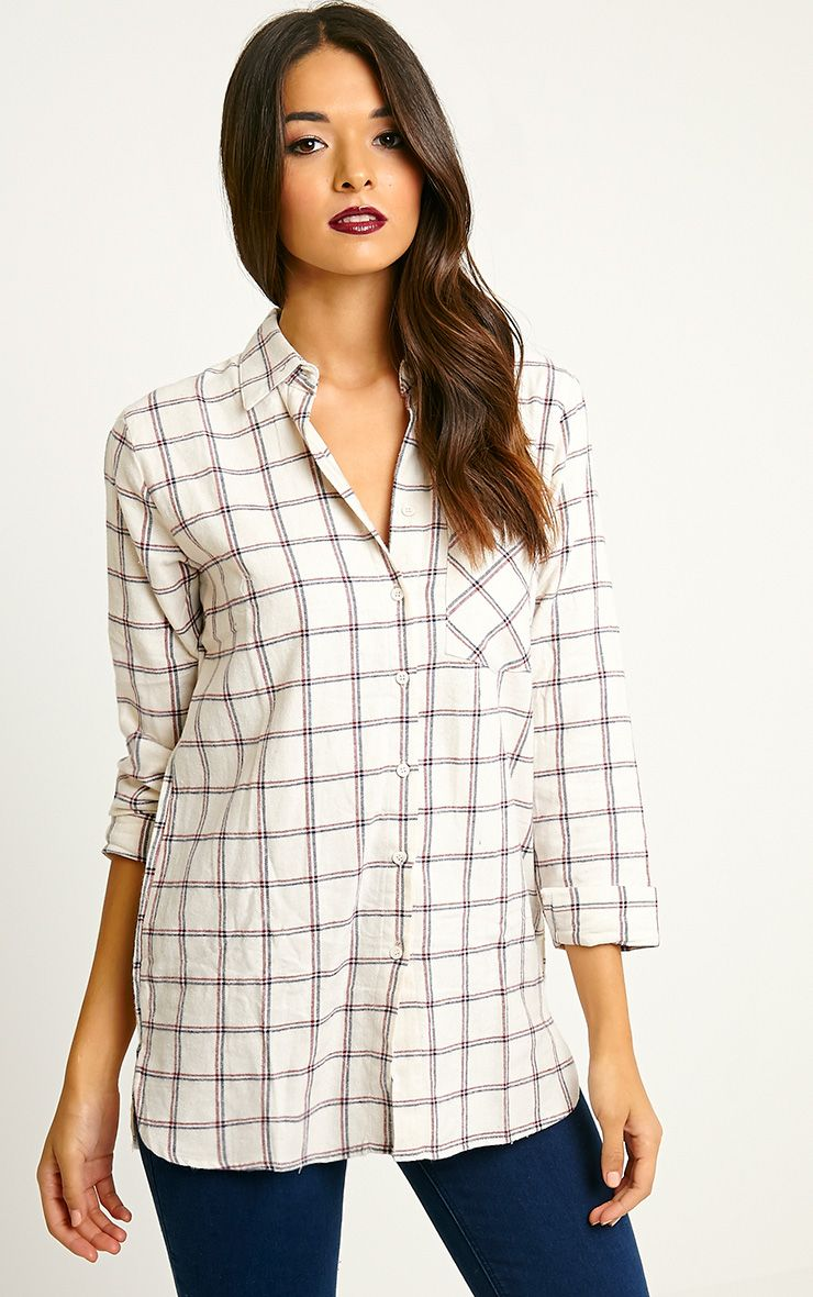 Mariel Cream Checked Shirt 1