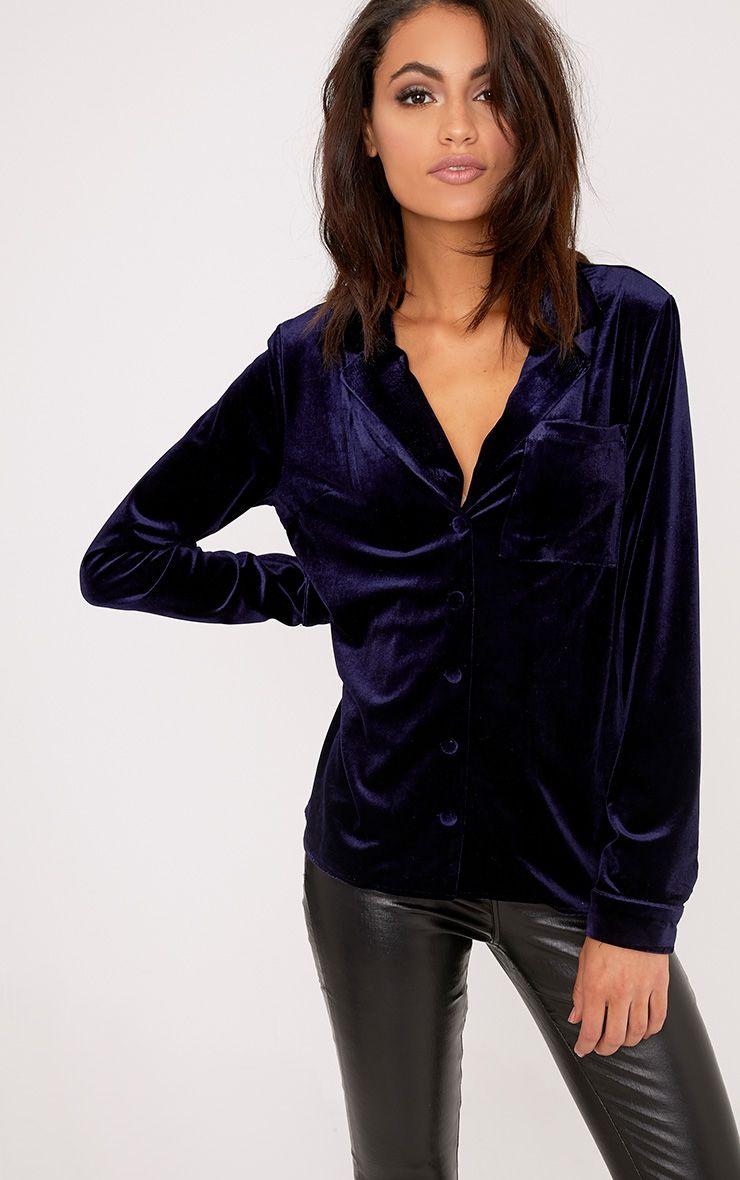 Clara Navy Velvet Pyjama Style Shirt
