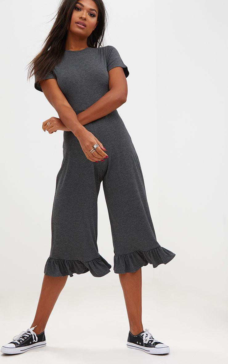 Charcoal Short Sleeve Frill Hem Culotte Jumpsuit