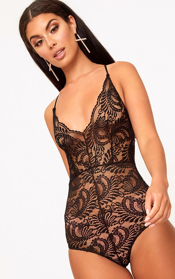Lucille Black Sheer Lace Cross Back Bodysuit