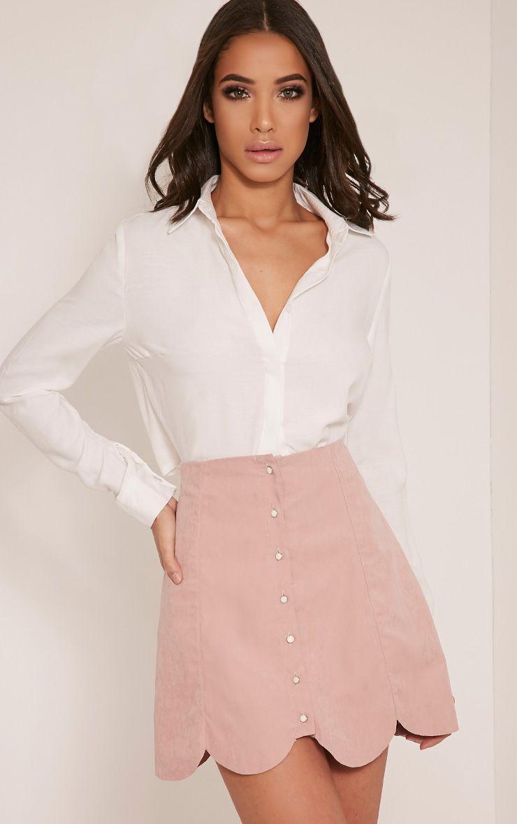 Talisha Blush Scallop Hem Mini Skirt Pink