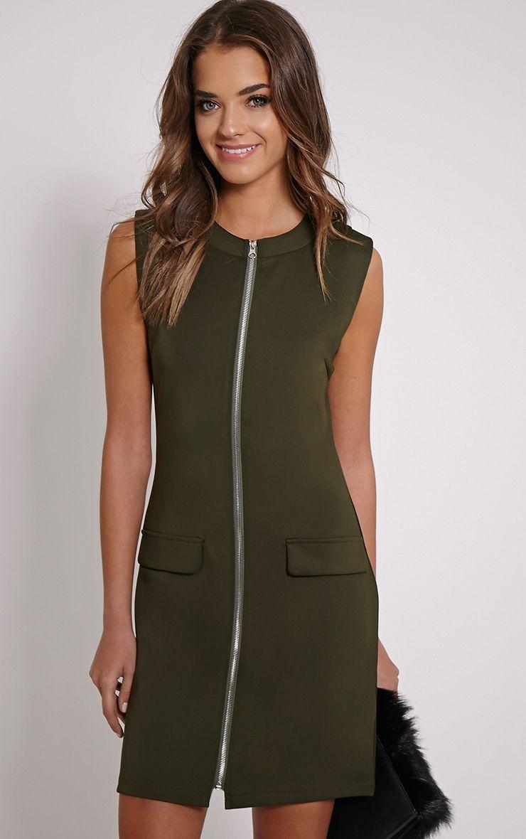 Simone Khaki Zip Front Shift Dress 1