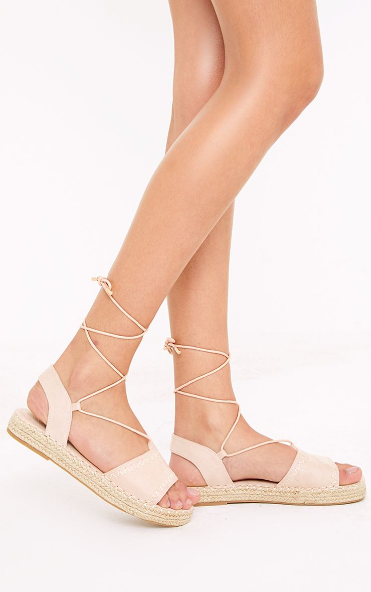 Rosina Blush Lace Up Espadrille Sandals