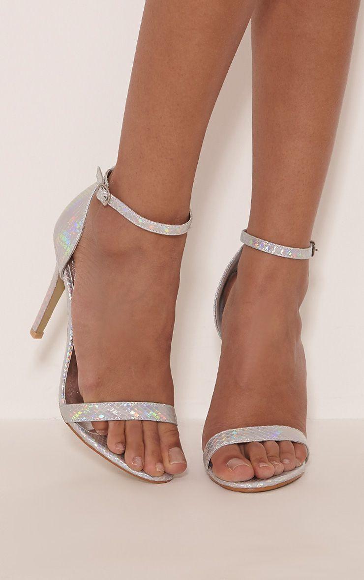 Franza Silver Metallic Strap Heeled Sandal 1