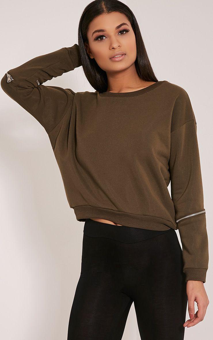 Zelina Khaki Zip Sleeve Sweatshirt 1