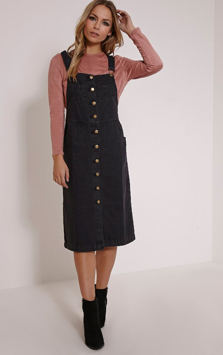 Dolly Black Denim Button Front Pinafore Dress Dresses