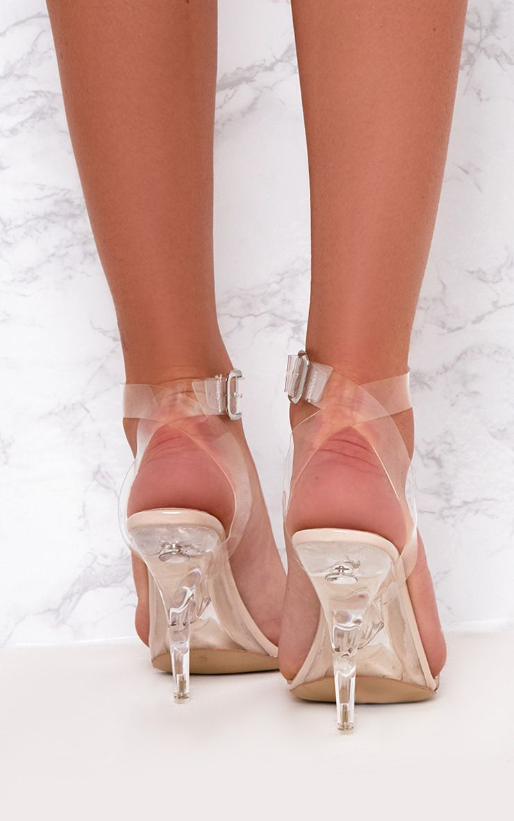 Nude Clear Strap Heeled Sandals Shoes  Prettylittlething-5714