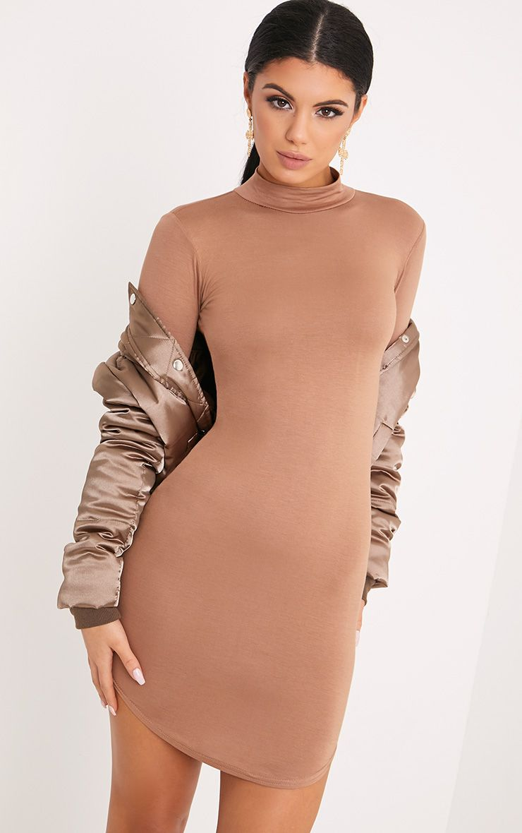 Alby Camel Curve Hem High Neck Dress