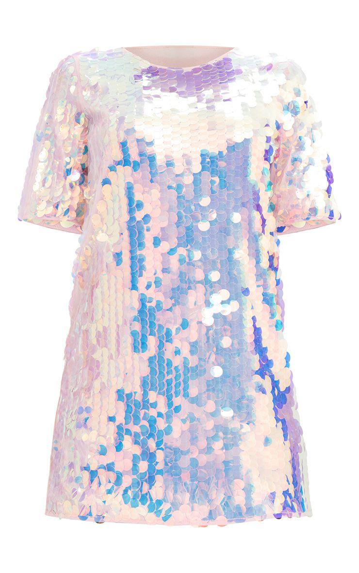 pink sequin t shirt dress dresses prettylittlething. Black Bedroom Furniture Sets. Home Design Ideas