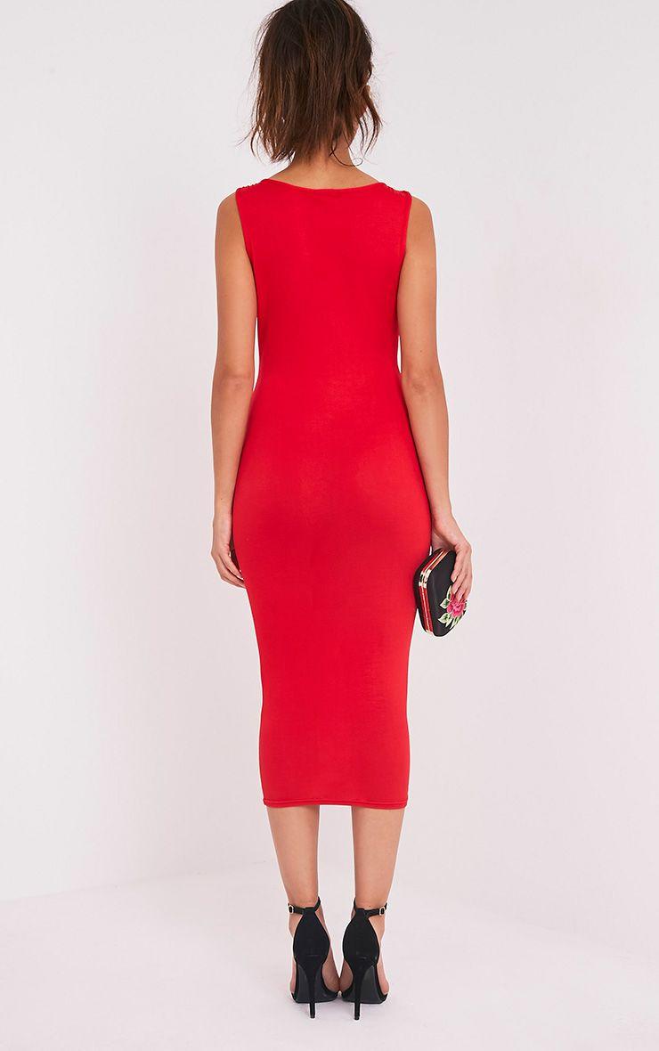 Basic robe midi plongeante à détail avec lanières rouge 2