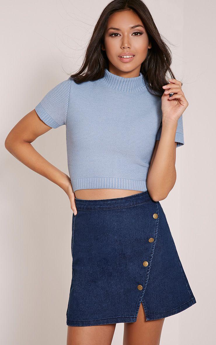 Tiffany Blue Button Front Denim Mini Skirt 1