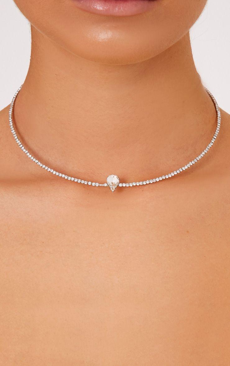 Delia Silver Single Diamante Choker