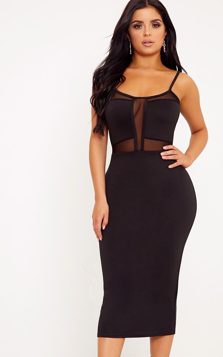 Shape Laida Black Cami Mesh Insert Dress