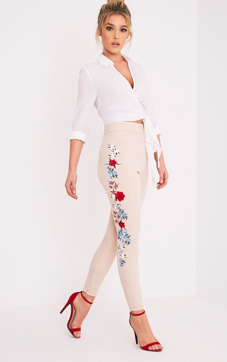 Kamari Nude Embroidered Skinny Trousers